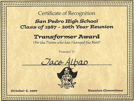 San Pedro High School Class of 1987 Transformer Award 20 Year Reunion 2007