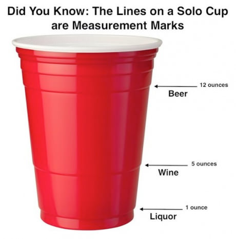 solo cup beer wine liquor measurement