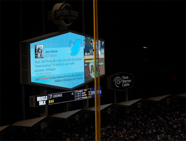 Dodger Stadium DodgerVision tweet vin scully