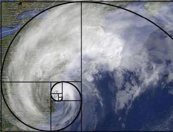 fibonacci hurricane spiral golden ratio