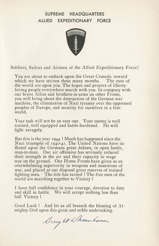 D Day Letter To Soldiers Sailors And Airmen Of The